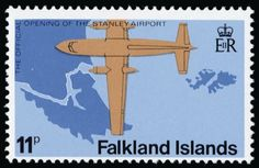 Falkland Islands 1979 Airport 11p, variety wmk Crown to right of CA (as seen from back of stamp), unmounted o.g.
