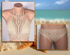 Crochet bikini Beige Swimsuit Summer trends LoveKnittings