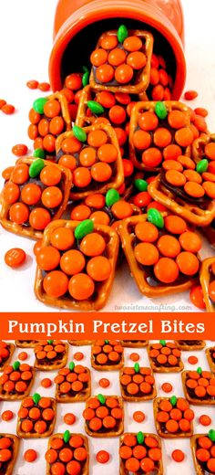These adorable Pumpkin Pretzel Bites will be everyone's favorite Halloween Party Food - so easy to make and so delicious. They are yummy bites of Halloween themed sweet and salty goodness. You won't be sorry if you add these colorful treats to your list o Fall Snacks, Holiday Snacks, Fall Treats, Halloween Goodies, Halloween Food For Party, Halloween Halloween, Halloween Pretzels, Halloween Treats For School, Diy Halloween Desserts