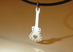 Sterling silver guitar necklace with heavy metal mirror finish    nicilaskin - Jewelry on ArtFire