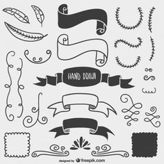 Black and white drawn elements