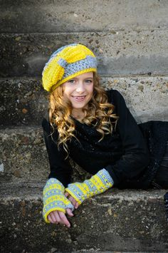 Crochet Hats for Tween or Teen Girls Gray and Yellow Hat Tween Fashion Crochet Hat with Bow Crochet Slouchy Hat Cute Hat Girls Winter Hat by foreverandrea on Etsy