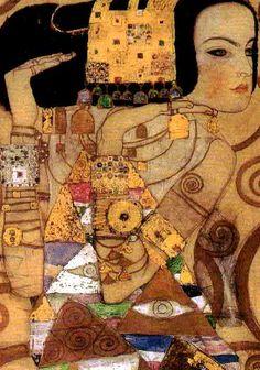 Titel: Verwachting - Expectation (1905-1909). Kunstenaar:Gustav Klimt. Kunst op postkaart in de Art Gallery van Muset