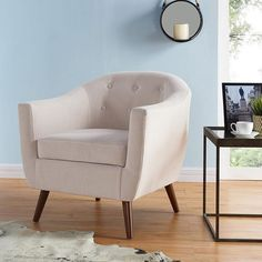 Worldwide Amber-Mid Century Accent Chair (B Blue Accent Chairs, Cozy Place, Extra Seating, Blue Fabric, Tub Chair, Decor Styles, Amber, Upholstery, Armchair