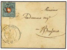 SUIZA. Mi.7 II. 1851. LE-PONT a LE-BRASSUS. 5 Rp. azul y rojo. M?rgenes completos, mat. P.D. y fechador LE-PONT/*.