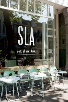 Love the stacked text SLA eat Share live Caf Bar coffee Shop Bistro Design Display ideas Bistro Design, Cafe Design, Store Design, Store Front Design, Signage Design, Café Bar, Cafe Interior, Interior And Exterior, Exterior Signage