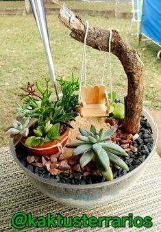 Fairy Garden Pots, Dish Garden, Fairy Garden Furniture, Garden Yard Ideas, Garden Terrarium, Succulent Terrarium, Garden Crafts, Garden Projects, Mini Cactus Garden