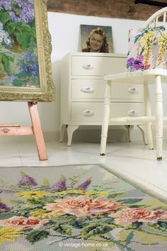 Vintage Home - Roses and Buddleia Needlepoint Rug.