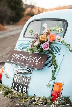 Vintage Wedding Car Decorations Ideas ❤ See more: http://www.weddingforward.com/wedding-car-decorations/ #weddings