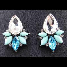 100% New Crystal Rhinestone Ear Stud Earrings It Comes Directly From Factory. Jewelry Earrings