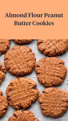 Almond Flour Desserts, Keto Peanut Butter Cookies, Almond Butter Cookies, Paleo Cookies, Almond Flour Recipes, Healthy Cookie Recipes, Healthy Sweets, Gluten Free Desserts, Healthy Baking