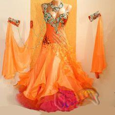 Ballroom-Watlz-Tango-Standard-US16-Dance-Dress-B4005-Orange-V-Back