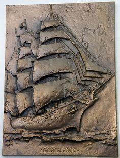 Relief-Wandbild  Gorch Fock, Segelschulschiff,  Buderus-Kunstguß, 13,5x18,5 cm.