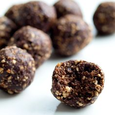 Chocolate Bliss Balls Recipe Desserts with cashew nuts, pitted dates, unsweetened cocoa powder, raw honey