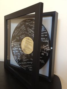 Wedding Guest Book Alternative - Shadowbox Vinyl Record Guest Book w Personalized Label by BridalStock on Etsy