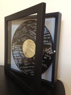 Custom Shadowbox Vinyl LP Record Album Wedding Guest Book Alternative with Personalized Label. $85.00, via Etsy.