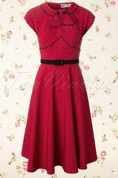 Bunny - 40s Noreen dress black red polka