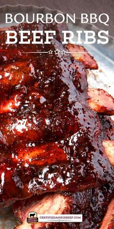 Bourbon Barbecue Beef Back Ribs Sriracha or other hot chili sauce, bourbon and soy sauce give these beef back ribs a sweet and spicy flavor that's absolutely divine. Barbecue sauce adds to the depth of flavor. Bbq Beef Ribs, Beef Back Ribs, Beef Ribs Recipe, Beef Short Ribs, Roast Beef, Best Beef Recipes, Rib Recipes, Barbecue Recipes, Recipes
