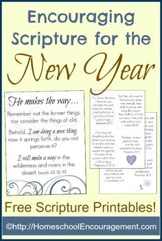Encouraging Scripture (Free) Printables for the New Year. Cards and a pretty poster to hang.