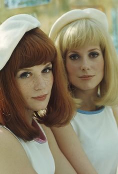 Catherine Deneuve and her sister Francoise Dorleac, shooting of the movie Les Demoiselles de Rochefort by Jacques Demy; in the city hall of Rochefort on June Photos by Philippe Le Tellier/Paris Match. Catherine Deneuve, Jacques Demy, French Beauty, Timeless Beauty, 1970s Aesthetic, French New Wave, Saint Yves, Actrices Hollywood, French Actress