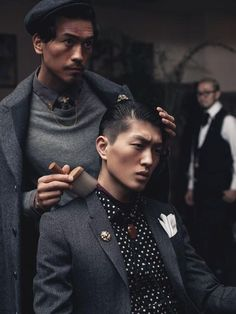 Asian. Perfection. Style. Black & Grey. Details. Fashion. Men. Cuts. Dark. Proper. Suits. White & Gold.