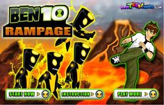 Ben 10 Rampage - http://www.littlemonstersgames.com/ben-10-rampage/ -          Description Get ready for action, Ben 10 is back with some new action and fighting skills… Destroy all aliens and bosses in the action pack side scroll….Enjoy. Instructions Use arrow keys or W,A,D to move. Press K or Z to attack.. For more combos look in game...