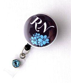 Registered Nurse  Button Badge Reel  Cute ID Holder by BadgeBlooms, $9.00