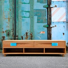 cherry wood and ceramic sideboard