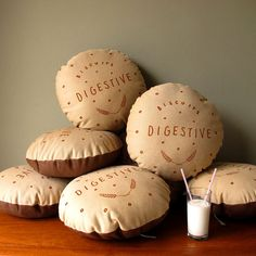 Love these! Would go great with our couch! Chocolate Digestive ScreenPrinted Cushion by whatnikkimade on Etsy, £28.00
