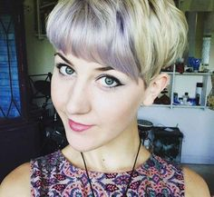 bangs with lavender highlights