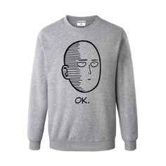 Saitama OK One Punch Man Anime Manga Parody Ugly Christmas Sweater Print Men//Women Unisex Long Sleeve T-Shirt