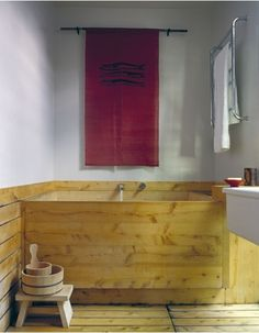 A Japanese-style hinoki soaking tub.