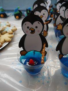 Penguin fishing jello cups- Penguin cutouts, blue jello, swedish fish and a pretzel stick. Winter Onederland Party