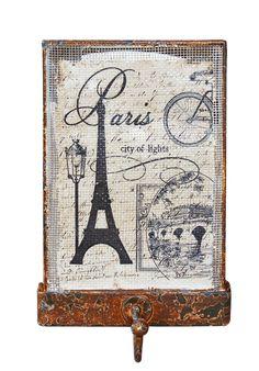 Cód. 106.031 - Gancho Simples Tela Rústico - Torre Eiffel - Oldway - 15x10x4