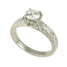 P19-148  Platinum hand engraved solitaire engagement ring, accented with 18k yellow gold filigree #WeddingRings #EngagementRings #DiamondRings #Varna #VarnaJewelry #VarnaDesigns