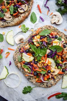Rainbow Veggie Hummus Pizza and Everything Bagel Crust