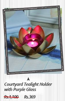 Courtyard Tealight Holder with Purple Glass