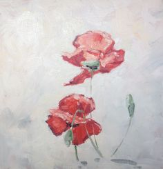 Nicole Laceur. Small painting with red poppies