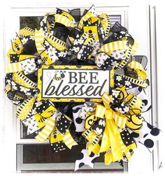 Excited to share this item from my #etsy shop: Bee Blessed Welcome Wreath, Summer Wreath, Bee Door Decor, Bee Decor For Home, Outdoor Wreath, Bumble Bee Wreath, Everyday Wreath Outdoor Wreaths, Year Round Wreath, Welcome Wreath, Wreath Crafts, Summer Wreath, Wood Doors, Home Decor Items, Door Hangers, Decorating Your Home