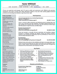 General Contractor Resume Excellent Content In This Resume For Industrial Technology And