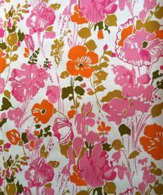 Vintage 1960s Wallpaper-Whimsical Pink Poppies Vintage Floral Fabric, Vintage Prints, Textures Patterns, Print Patterns, Floral Patterns, Textile Prints, Floral Prints, Bold Prints, Textile Design