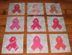 Set of 12 Pink Ribbon Breast Cancer Awareness Applique Quilt Blocks