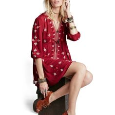 Free People 'Star Gazer' Embroidered Tunic Dress ($128) ❤ liked on Polyvore featuring dresses, red combo, plunge neck dress, free people dresses, drawstring waist dress, empire line dress and empire waist dress