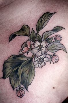 kirstenmakestattoos:  Little apple blossom coverup for Nichole. Thanks, lady!  Kirsten Holliday