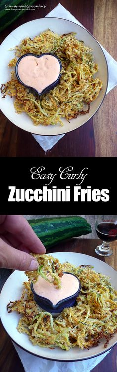 Easy Curly Zucchini Fries ~ Sumptuous Spoonfuls #easy #zucchini #recipe