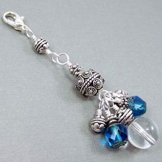 Beaded Zipper Pull Charm Sapphire Cathedral by BrossARTaddiction, $8.75