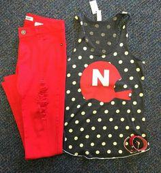 Nebraska huskers outfit! Tank. Red jeans. Ash&Ash.