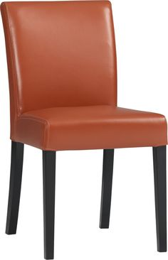 Lowe Persimmon Leather Side Chair  | Crate and Barrel
