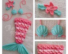 Crochet sirena foto apoyo 5 tamaños hechos a mano baby