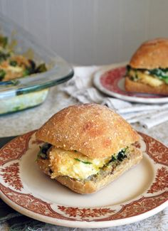 Cheesy Spinach Baked Egg Sandwiches
